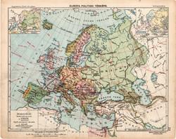 Európa politikai térkép 1913, eredeti, Magyarország, iskolai atlasz, Kogutowicz, monarchia