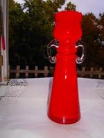 Kézműves  üveg váza  29,5 cm