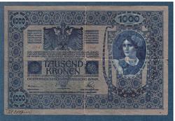 1000 Korona 1902 Deutschösterreich bélyegzés Hátlap Azonos