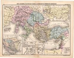 Keresztes háborúk térkép 1880, eredeti, iskolai atlasz, történelmi, Európa, Ázsia, 1096, 1248