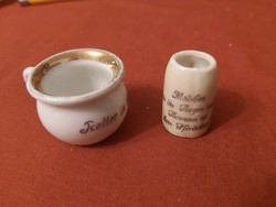 Két darab, háború előtti, miniatűr porcelán edényke GYŰJTŐKNEK!