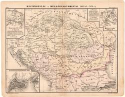 Magyarország s melléktartományai térkép 1880, eredeti, iskolai atlasz, történelmi, 1301 - 1526