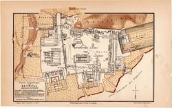Olympia térkép 1888, színes, német nyelvű, Meyers, Olümpia, Görögország, hegy, Zeusz templom