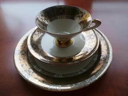 Reggeliző szett, Bavaria régi német porcelán teás szett, dúsan aranyozott.