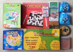 Régi retro 10 darabos játékcsomag: társasjáték domino kártya sakk malom mesefilm logikai játék