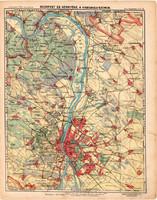 Budapest és környéke térkép 1913, eredeti, Magyarország, iskolai atlasz, Visegrádi szoros, Duna