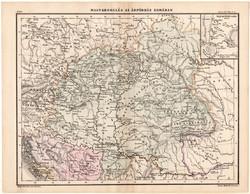 Magyarország az Árpádház korában térkép 1880, eredeti, Magyarország, iskolai atlasz, történelmi