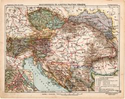 Osztrák - Magyar Monarchia politikai térkép 1913, eredeti, Magyarország, iskolai atlasz, Ausztria