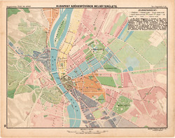 Budapest székesfőváros belső területe térkép 1913, eredeti, Magyarország, iskolai atlasz, Buda, Pest