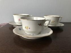 3 db régi Zsolnay csésze + alj virág mintával