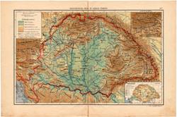 Magyarország hegy- és vízrajzi térkép, kb. 1940, eredeti, Magyarország, iskolai atlasz, csapadék