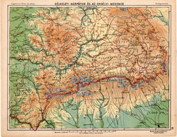 Délkeleti Kárpátok és az erdélyi medence térkép 1913, eredeti, Magyarország, iskolai atlasz, Erdély