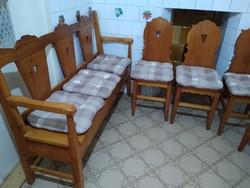 Asztalos által készített fa étkező pad+4 db szék