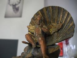 Francia angyal tűzaranyozott bronz szobor