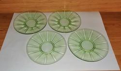 Zöld üveg kistányér készlet 4 db átm. 15 cm (2p)