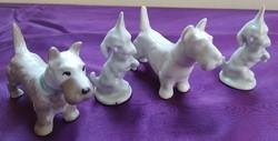 4 kutya - porcelán - vitrintárgyak