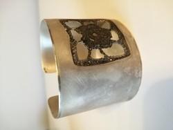 Áttört csipke ablakos kézműves ezüst karperec