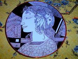 Szász Endre szignált Hollóházi porcelán fali tányér 24 cm