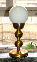 Art deco réz asztali lámpa - tejüveg gömb búra