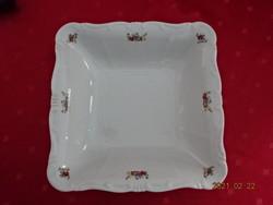 Zsolnay porcelán, apró virágos köretes tál, mérete: 23 x 23 x 6 cm.