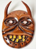 Iparművészeti mázas kerámia maszk / busó jellegű
