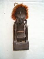 Fa néger törzsi szobor művészi kidolgozású fa faragás talán valamilyen ős szellem lehet KIÁRUSÍTÁS