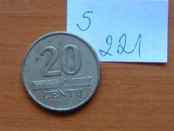 LITVÁNIA 20 CENTU 1997 S221