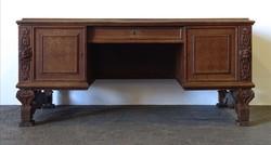 1D304 Antik térbehelyezhető angyal motívumos faragott nagyméretű íróasztal