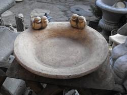 Kézműves Rusztikus Nagy kb 35-40cm kő madár itató etető tál madáritató