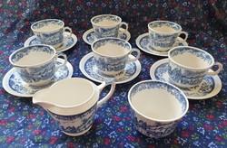"""Angol kék jelenetes porcelán """"Olde England"""" teás kávés készlet"""