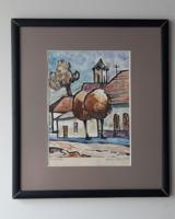 Korényi Attila kortárs festő akvarell szentendrei utcarészlet 1999. keret nélkül