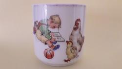 Régi Zsolnay porcelán mesemintás kis bögre mesejelenetes vintage csésze