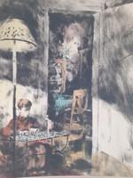 Katonásdit játszó kisfiú (színezett rézkarc, 31x40) Bernáth Aurél? gyermekportré, fiatalság, játék
