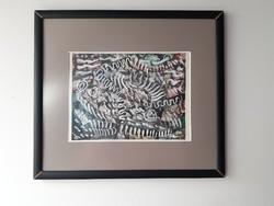 Korényi Attila kortárs festő Zivatar barna pasztell tempera absztrakt festmény 1999. keret nélkül