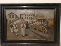 S.H. szignós antik életkép, -  Dél- Amerika? - aukció,garanciával.