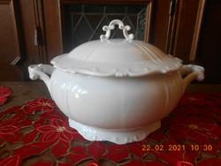 Zsolnay barokk, fehér leveses tál