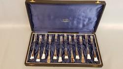 Antik 12 személyes ezüst kagyló villa, süteményes villa készlet, dobozban 329g