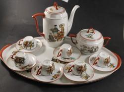 Antik kínai jelenetes kávés készlet 428