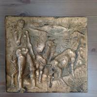 Régi iparműveszeti bronz dombormű MJ (Máté János?)