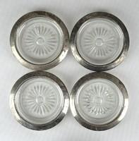 1D292 Antik ezüstözött szegélyes csiszoltüveg poháralátét 4 darab