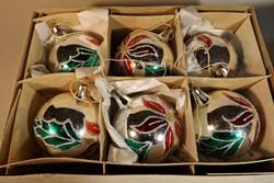 Retro  üveg karácsonyfa dísz 6 db ,eredeti dobozában
