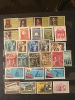 27 darab posta tiszta Vatikáni bélyegek , bélyeg sorok .