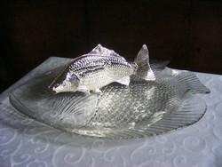 Horgászoknak szeretettel! Gyönyörű, 40 cm-es, hibátlan, hal formájú tál, ezüstözött szalvétatartóval