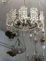Bronz csillár kristály  díszekkel. 1900 évek. Ritka!