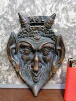 Tömör réz, régi ördög fej, 456 gramm, 10,5x16 cm