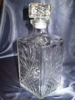 Pazar nehéz csiszolt mintás literes italos üveg palack hibátlan 24x10x10 cm.