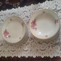 Zsolnay: Ritka, rózsás, lapos és mély tányér, 6 - 6 db