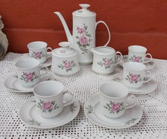 6 személyes rózsás hamvas rózsa mintás  Alföldi porcelán kávéskészlet csésze kanna cukortartó retro