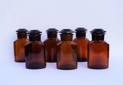 Antik patikaüveg gyógyszertári üveg 6 db egyben borostyán színű üvegek