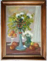 """Gádor Emil """"Virágok, gyümölcsök"""" c. olajfestmény ingyen postával"""